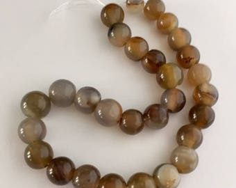 Agate Beads - 29 beads - approximately 7mm