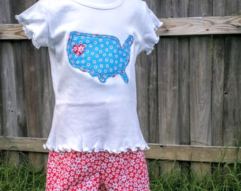 America Silhouette Applique Tee Shirt and Short with pom trim