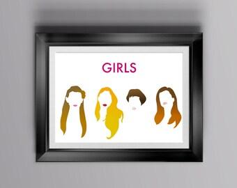 Girls print for home decor, alternative poster of Girls, wall art for series lovers