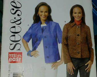 See & Sew by Butterick Jacket Sewing Pattern 5701 Misses' Sizes 6-20