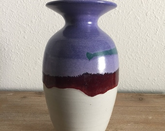 Purple and White Studio Pottery Vase