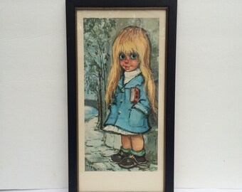 1960's Original Lithograph Print Big Eyes Girl in Raincoat Paris Art Print Kitsch