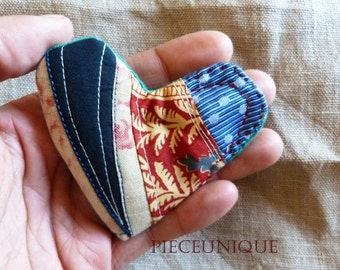 Heart shaped brooch patchwork recycled textiles Small