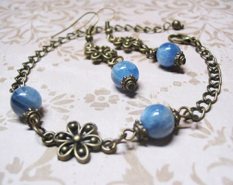 Blue Kyanite Jewelry Blue Jewelry Vintage Jewelry Beaded Gemstone Jewelry Blue Kyanite Earrings Kyanite Bracelet Gift for Her FREE SHIPPING