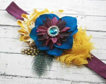 Mustard yellow purple blue flower headband- fall headband