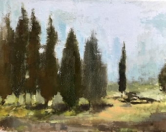 Group of pine trees landscape, handmade oil painting