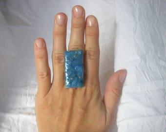 Large blue rectangular polymer clay, ceramic Ring