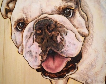 Custom Pet Portrait, Pyrography dog portraits, Wood Burn and stain painted portraits 8x10 Dog portraits
