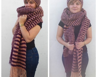 XL scarf and hat set, plum scarf, peach scarf, chunky blanket scarf set, XL wool scarf, XL mohair scarf, striped hat and scarf set, salmon