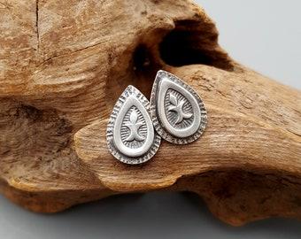 Stud Earrings in Sterling Silver Hand Stamped Yoga Jewelry Petite Post Earrings