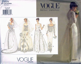 Size 12-16 Wedding Dress Sewing Pattern - Lace Bodice Wedding gown - Straight Skirt - Full Skirt - Detachable Train - Vogue Bridal 1325