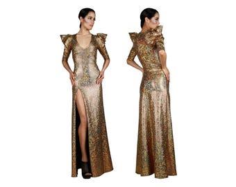 Gold Evening Dress, Deep V Neck Dress, Evening Sexy Dress, Cocktail Long Dress, Long Evening Gown, Gold Wedding Gown, Futuristic, LENA QUIST