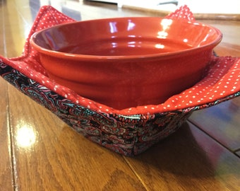 Soup Cozy, Bowl Cozy, Soup Holder, Bowl Holder, Microwave Bowl Cozy, Gift for Women, Gift for Friends, Gift for Coworker, Paisley Cozy