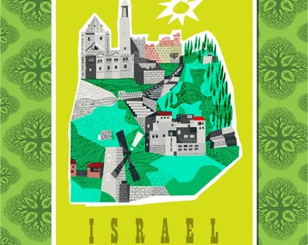Israel Travel Poster Wall Decor, Travel Art (7 print sizes available)
