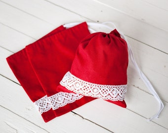 Red drawstring bag - Fabric gift bags -  Linen bread bag - Linen and lace product bag - christmas gift bags - gift for bridesmaids