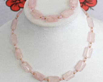 Rose Quartz Puffed Rectangle Necklace and Bracelet Set