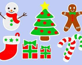 Christmas Clip Art, Snowman Clip Art, Christmas Tree, Gingerbread Man, Stocking Clip Art, Gifts clip art, candy cane clipart, commercial use