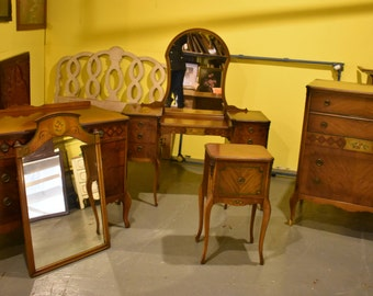 Antique Fancy 5 Piece Bedroom Suite Mahogany & Walnut with Stencil and Inlay