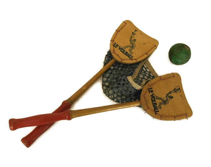 Le Vollball Ball Toss Catch Game. French Vintage Wood Paddle and Net Toy. Gifts for Kids. Collectible Sports Decor.