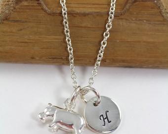 Personalized Hippo Necklace - Hippo Charm 925 Sterling Silver - Hippopotamus Pendant - Hippopotamus Necklace