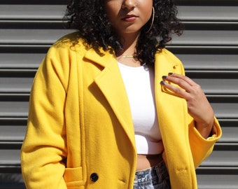 1980s 1990s Vintage Double Breasted Crop Felted Boiled Wool Yellow Moto Style Blazer Jacket Size L