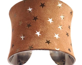 Gold Star Embossed Suede Leather Cuff Bracelet - by UNEARTHED
