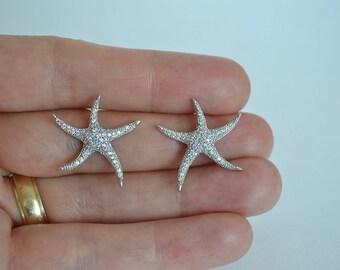 Bridal Cubic Zirconia Crystal Earrings, Starfish Stud Earrings, Beach Wedding Jewelry, Britney - Will Ship in 1-3 Business Days