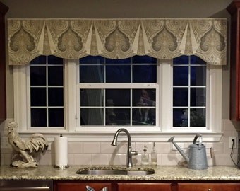 "Custom Wide Width Valance CASEY Hidden Rod Pocket® Valance, fits 81"" - 108"" window, made using your fabrics, my LABOR and lining"
