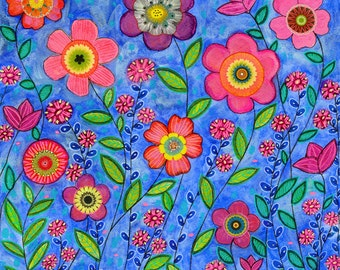 Original Painting, Flower Painting, Home Decor Art, Mixed Media Art