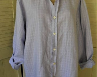 Linen-Cotton Shirt/ Window Pane Weave/ Light Blue 1X Top/ Thrifted Chic/ Shabbyfab Funwear