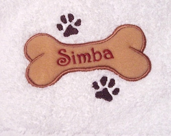 Personalized Embroidered Dog Bath Towel