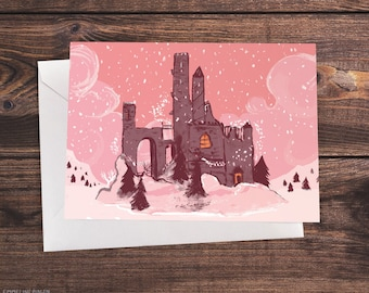 Fairytale Castle Ruins In The Snow - Illustrated Christmas Card In Pink