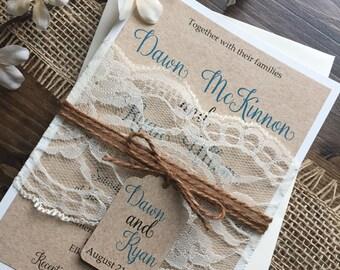 Rustic Wedding Invitation, Vintage Wedding Invitation, Elegant Wedding Invitations, Lace Wedding Invitations, Barn Wedding Invitation