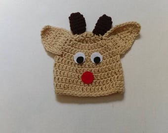 Rudolph the red nose reindeer crochet baby hat, newborn photography prop, Christmas baby hat, baby boy reindeer hat, crochet reindeer hat