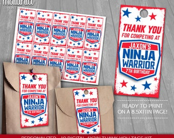 American Ninja Warrior Thank You Tags Printable - PERSONALIZED - Ninja Warrior Birthday Party tags - American Ninja Warrior Labels (NW01TAG)
