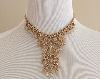 1970s Vintage Choker/Crystals and Rhinestones on Goldtone Setting
