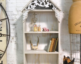 Painted Cottage Prairie Chic Hand Made Bookcase / Display Cabinet