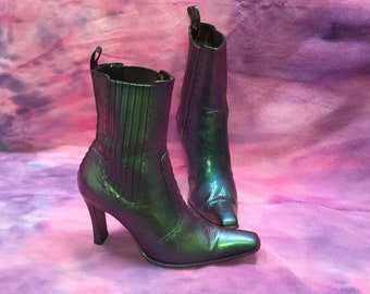 Mermaid Insoired Color Shifting Square Toe Ladies Heeled Boots, Size 12 Womens Heeled Boots