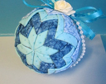 Quilted Christmas Fabric Ball ornament blue fabric with blue ribbon bow ooak