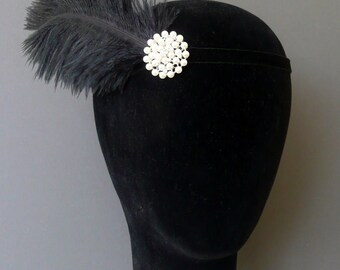 Flapper Headband Black Pearl Feather Headpiece 1920s Fascinator Art Deco 20s Crystal
