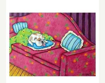 25% off bulldog art - Bulldog, 11x14 art PRINT, bulldog art, bulldog PRINT, dog, dog art, sleeping, bedroom, bedroom art