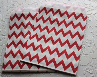 Red and White Zig Zag Chevron Paper Bag- Gift Bag, Party Favor, Party Supply, Shop Supply, Treat Bag, Merchandise Bags