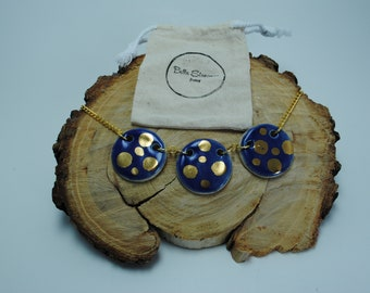 Handcrafted Ceramic Necklace   3 Piece Circles in Cobalt Blue with Real Gold Accents