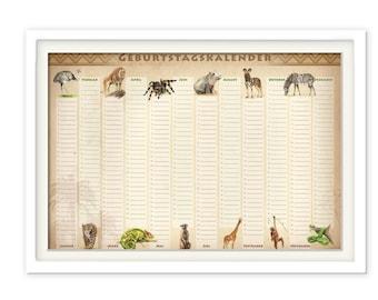 Birthday Calendar Animals