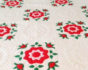 "Handmade Quilt, Red Green Floral, Heirloom,  Gift, 78"" x 90"" Rare 32 Year Old Heirloom Collectible, Gift, Birthday (Q903)"