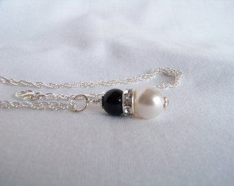 Black and White Necklace - Swarovski Pearl and Onyx Sterling Silver Necklace - Onyx Pearl Crystal Rondelle Necklace - Gift Ideas for Her