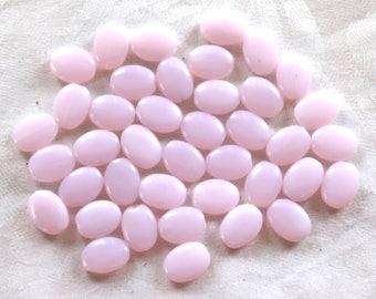 25 Milky pink flat oval Czech Glass  beads, 12mm x 9mm pressed glass beads C8625