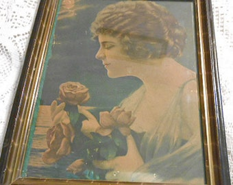 EDWARDIAN LADY Admiring Moonlit ROSE Litho Print 13.5 by 11 Wood Period Gilded Frame & Antique Glass Wall Decor, Gently Faded Collectible