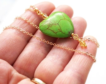 Mothers Day Gift Green Thumb Gift Heart Necklace Thin Gold Chain Green Heart Love Planter Gift for Gardener Nature Spring Friendship Gift