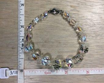 """Vintage 7.75"""" Bracelet Aurora Borealis Crystal Beads Used"""